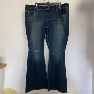 American Eagle Plus Size 18 Distressed Flare Jeans